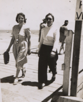 Hazel Harrison and HMW on a jetty, rotated and cropped.png