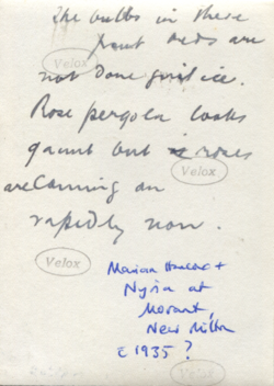 Marian and Nyria with Lena, c.1935 (verso).png
