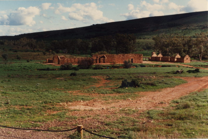 Old shearers' buildings at Kanyaka Station, 1989.png