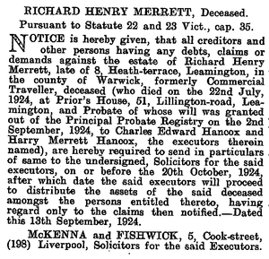 1704 London Gazette, 1924-09-19, iss. 32975, pg. 6952, Richard Henry Merrett notice of execution of will.png