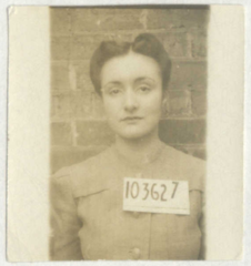 Joan Leake Hall WW2 record, NAA, mugshot print.png